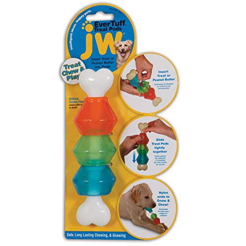 JW Pet Company 46137 EverTuff Treat Pod Nylon Toys for Pets, Small, White