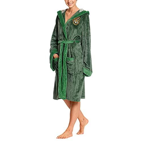 Elbenwald bata Harry Potter con el capó con gran cresta de Slytherin en la espalda y bolsillos frontales para los hombres y las mujeres verde 110 cm