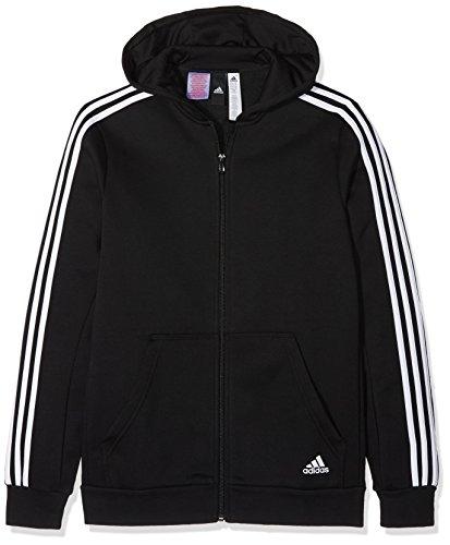 adidas Jungen 3 Stripes Fleece Full Zip Hooded Kapuzen-Jacke, Black/White, 128