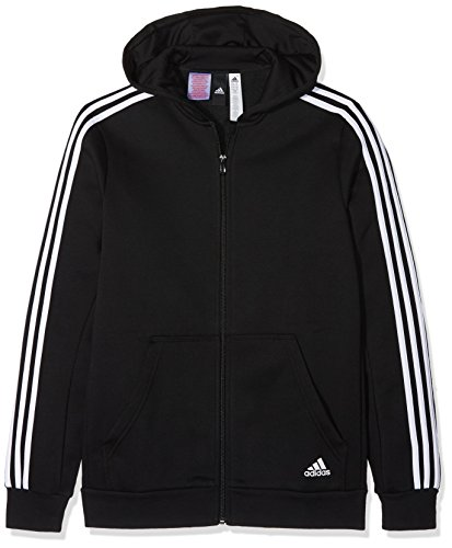adidas Jungen 3 Stripes Fleece Full Zip Hooded Kapuzen-Jacke, Black/White, 128