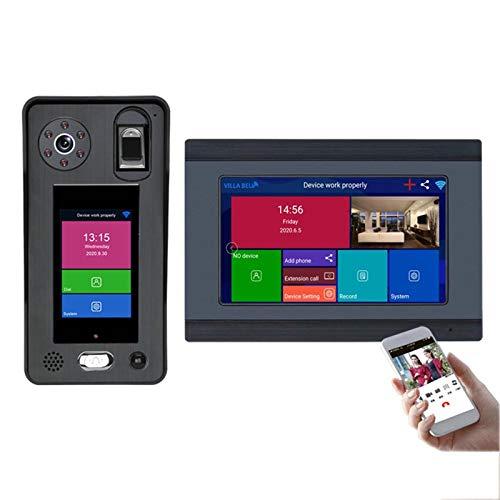 Timbre con video inalámbrico WiFi, cámara de visión nocturna, intercomunicador teléfono con videoportero de 7 pulgadas, reconocimiento facial, huellas dactilares, desbloqueo de la APP,1 monitor