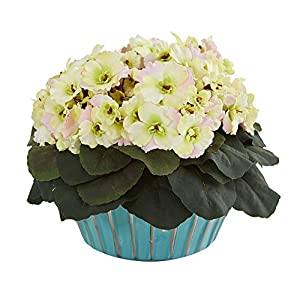Nearly Natural 8775-CP Mini 9in. African Violet Artificial Turquoise Vase Silk Plants, Cream/Pink