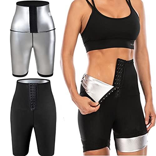 YMIFEEY Pantalones Sauna Mujer Corto Pantalón de Sudoración Cintura Alta Nanotecnología Leggins Reductores Adelgazantes Pantalon Mallas Fitness Push Up para Deporte Running Yoga