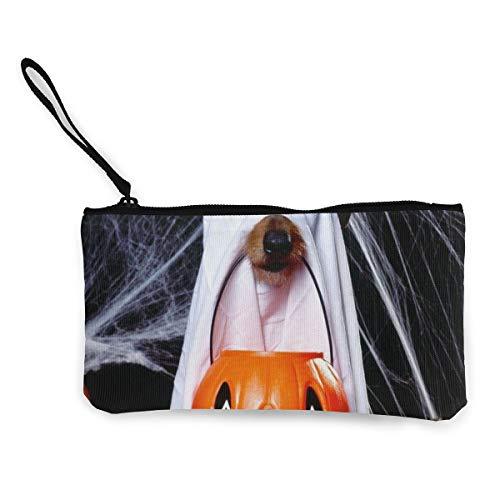 Rterss Halloween Hund Geisterlaterne Spinnennetze Münzgeldbörse Geldbeutel Geldbeutel Münztasche Kleingeldbeutel Schlüsseltasche Handytasche mit Griff bedruckter Leinwand personalisierbar