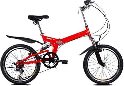 Bicicleta de montaña plegable de 20 pulgadas, 6 velocidades variables, bicicleta de carreras, para hombre y mujer, bicicleta plegable, velocidad variable, color blanco y rojo
