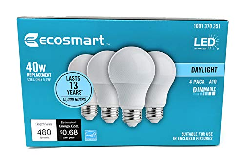 EcoSmart 40W Equivalent Daylight A19 Energy Star and Dimmable LED Light Bulb (4-Pack)