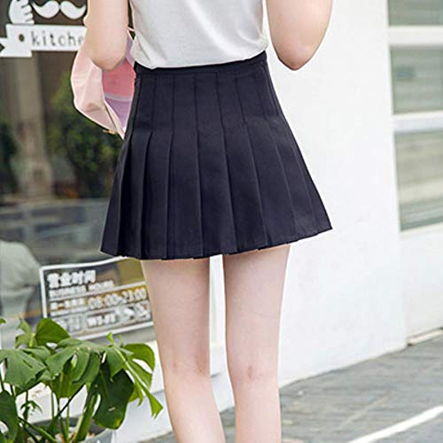 AGS Mädchen-Tennisrock, plissiert, hohe Taille, kurzes Kleid, schmale Schuluniform, Damen, Teenager, Cheerleader, Badminton Röcke, Schwarz , M