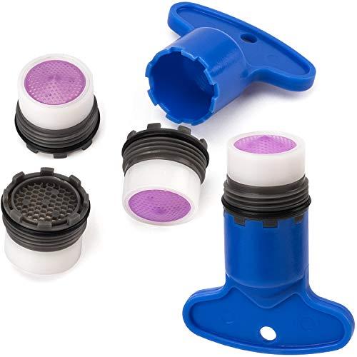 OIIKI - Juego de 4 filtros de repuesto para grifo + 2 herramientas de extracción de llave, aireadores de ahorro de agua, juego de restrictores de flujo para baño o cocina, 16,5 mm