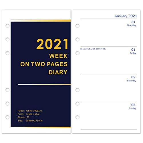 2021 Kalendereinlage Personal 1 Woche auf 2 Seiten, Englischsprachig