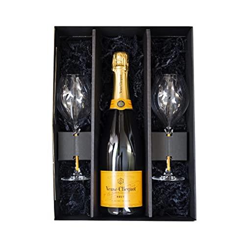 Veuve Clicquot Brut 0,75l + 2 x Veuve Clicquot Champagnerglas in Präsentbox by Reichelts