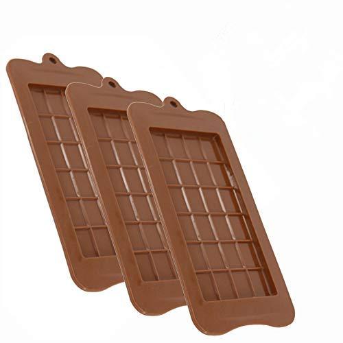 LHKJ Lot de 3 Moule Tablette de Chocolat, Moules en Silicone pour Chocolat, Anti-adhésifs pour la Cuisine et la Pâtisserie