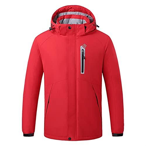 joyvio Chaqueta con calefacción USB para hombre Abrigo calefactor eléctrico de fibra de carbono a prueba de viento con capucha con cordón (Color : Red, Size : M)
