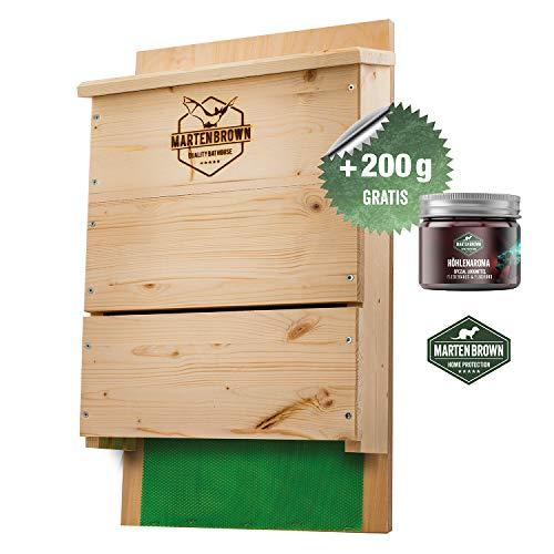 Martenbrown® Großer Premium Fledermauskasten für bis zu 300 Fledermäuse/Nistkasten aus Fichtenholz für Fledermäuse/Montagefertiges Fledermaushaus + 200g Fledermauslockmittel / 60cm x 34 cm x 10cm