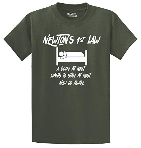 Men's Heavyweight Tee Newtons First Law Sleep Olive S
