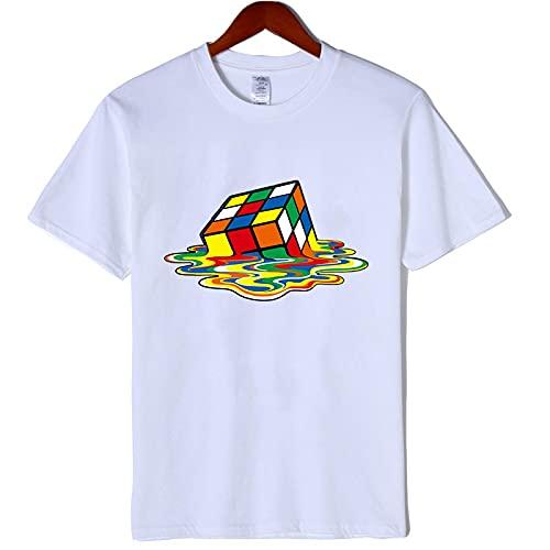 Camiseta de Manga Corta Camisa 3D Camiseta De Manga Corta De Algodón Informal para Hombre con Estampado De O-Cuello Casual Hip Hop para Hombre M Blanco
