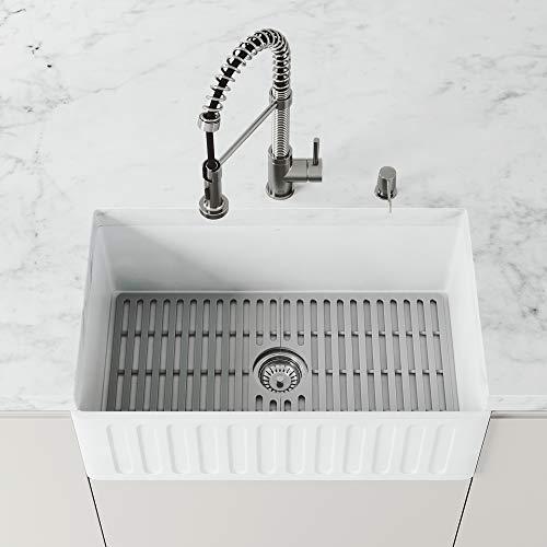 VIGO VGSG3018 27 in x 14.75 in Gray Silicone Kitchen Sink Protective Bottom Grid for Single Basin 30...