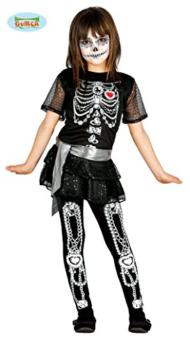 costume BAMBINA scheletro OSSA tutina BIMBA 7/9 anni HALLOWEEN