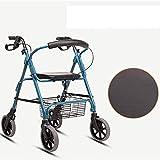 WSVULLD Walker Plegable con Asiento, Caminante removible de Apoyo, Adecuado para Personas Mayores y Personas con Movilidad Reducida