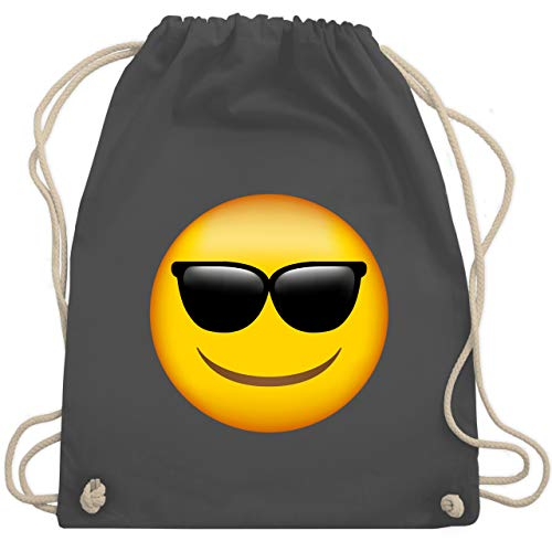 Comic Shirts - Emoticon Sonnenbrille - Unisize - Dunkelgrau - turnbeutel jungs - WM110 - Turnbeutel und Stoffbeutel aus Baumwolle