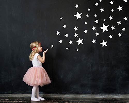100 Sterne Wandtattoo fürs Kinderzimmer - Wandsticker Set - Pastell Farben, Baby Sternenhimmel zum Kleben Wandaufkleber Sticker Wanddeko - Wandfolie, Kleinkinder, Erstausstattung auf Rauhfaser Weiß