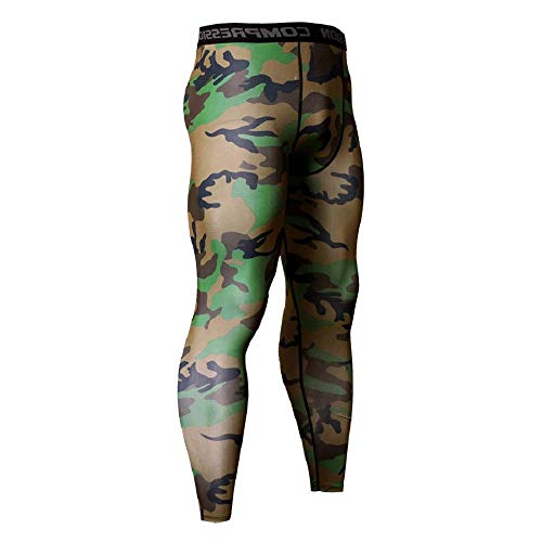 Ducomi Pantalones Deportivos de Compresión - Pantalones de Yoga Estirables para Hombres - Mallas Deportivas de Camuflaje - Entrenamiento de Fitness Masculino Leggings para Trotar - (Verde/XXL)