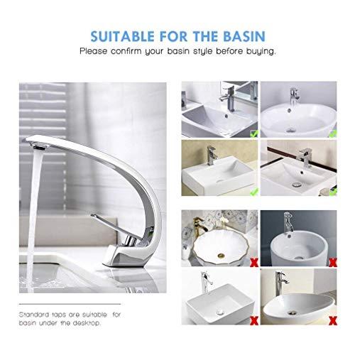 BONADE® Wasserfall Einhebel-Waschtischarmaturen Mischbatterie Wasserhahn Bad Armatur für Badezimmer Waschbecken, 59 Kupfer, Chrom - 6