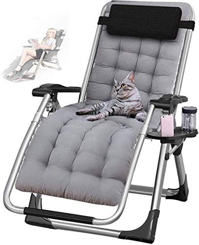 Garden Outdoor Reclining Chair Folding Zero Gravity Lounge Chair Oversize Deck Chairs Cotton Cushion for Patio Sun Loungers Bed Recliner Loading up to 220Kg with Head Pillow