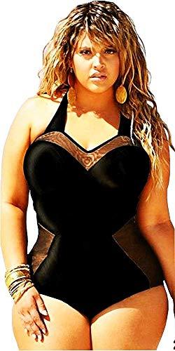 Costume da Bagno Taglie Forti - Intero - Adatto a Adulti Donna - Ragazza - Colore Nero - Idea Regalo Compleanno