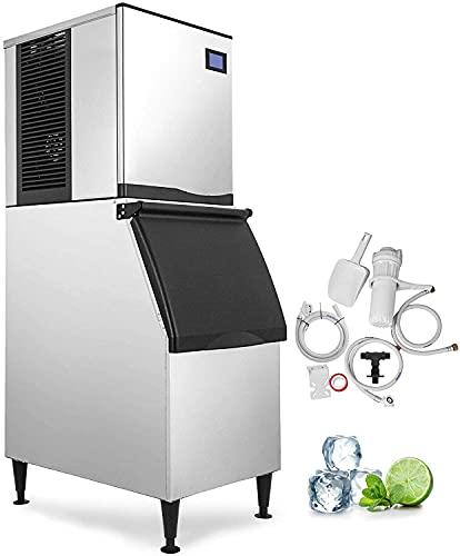 BECCYYLY Refrigerador portátil Comercial Ice Maker 250 KG (550 libras) por día con 140 kg de almacenamiento Ice Cube Maker para Bar Home Supermercados Restaurante Mini nevera