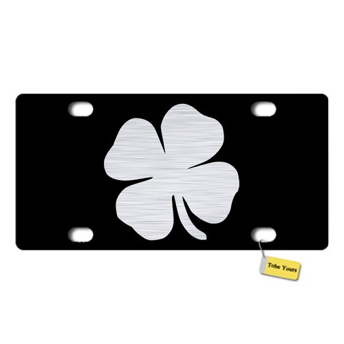 Tobe Yours License Plate Cover St. Patricks Shamrock 4-Leaf Clover Printed Auto Truck Car Front Tag Personalized Metal License Plate Frame Cover 6'x12'