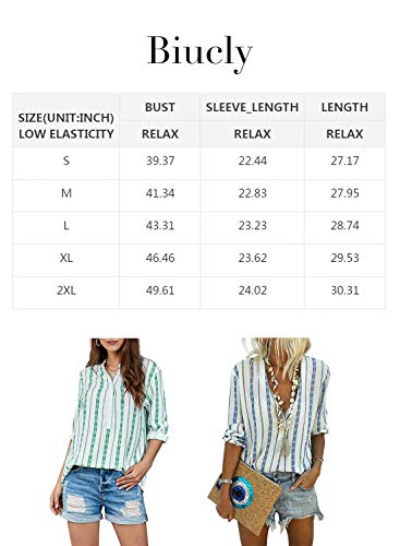 Women's Casual Stylish Striped V Neck Button Down Cuffed Sleeve Blouses Shirts Tops 5