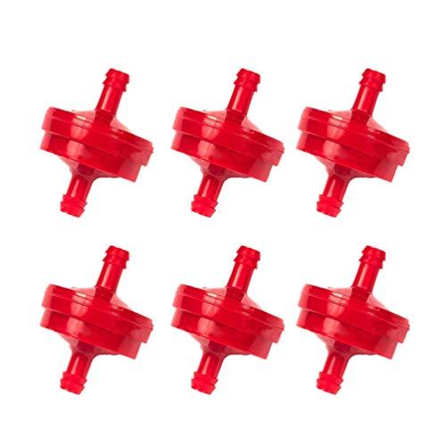 OUNONA Filtro de combustible de plástico 1/4 Inline Filtro de gasolina Auto Moto Filtro 6 unidades (Rojo)