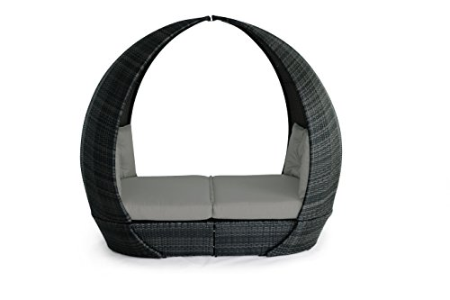 Maze Rattan **NEW** Tulip Garden Daybed in a Mixed Brown, Mixed Grey or Tuscany Natural toned Weave by Rattan Fairy (Grey)