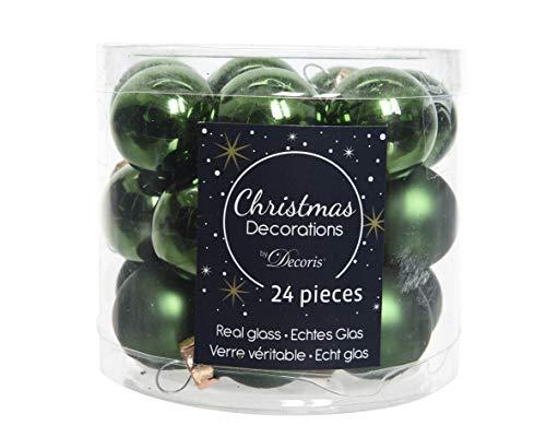 Mini-Weihnachtskugeln aus Glas 24er Set 25mm ( grün - piniengrün glanz / matt ) Spiegelbeeren Weihnachtskugeln Baumkugeln Christbaumkugeln