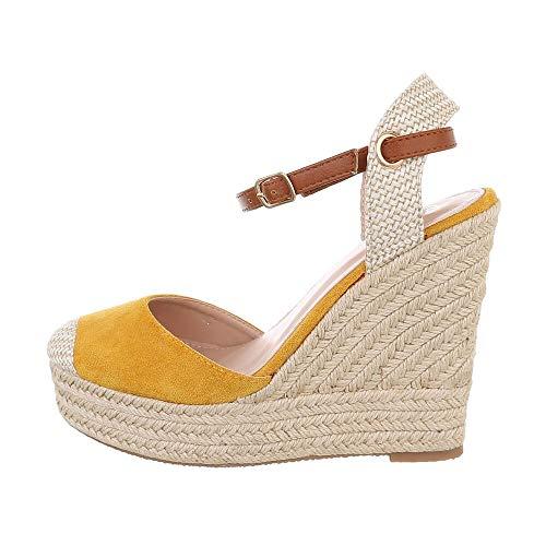 Ital-Design Sandalias para mujer con cuña, color Amarillo, talla 41 EU