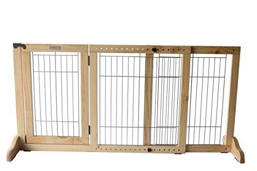 Simply Shield+ | Hunde-Barriere | Hunde-Absperrgitter | Verstellbare Breite mit Tür | Freistehend | in 3 Farben und 2 Größen erhältlich … (M, Naturholz)