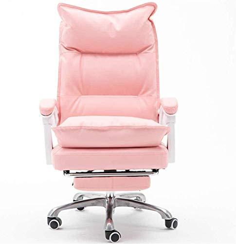 Bürostuhl Drehbarer Computer-Schreibtisch-Stuhl Weiches PU-Leder Ergonomischer Bürostuhl Chefsessel Höhenverstellbar (Farbe : Weiß)