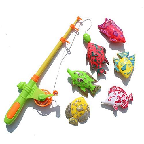 0Miaxudh Angelspiel Spielzeug, 7 Stücke Magnetische Angelrute Fischmodelle Fangspiel Interaktive Kinder Bad Spielzeug Random Color