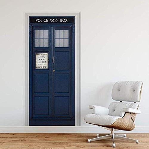 Jiedoud 3D Selbstklebende Tür-Dekor-Aufkleber-Polizeikiste Blau Uk Tardis Riesen-Fantasie-Kunst-Leinwand-Tapete Abnehmbares Kunstplakat-95 * 215Cm