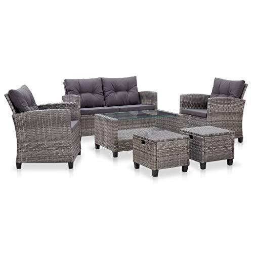 UnfadeMemory Set di divani da giardino da esterno, 6 pezzi, con cuscini, mobili da terrazza, divano a 2 posti + 2 poltrone, 2 ottomane + tavolo, in rattan sintetico (grigio scuro)