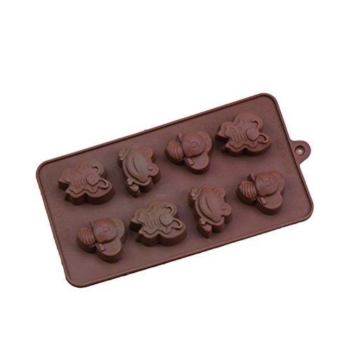 BESTonZON 8 Löcher Biene und Frosch Form Silikon Schokolade Kuchenform DIY Backenwerkzeuge