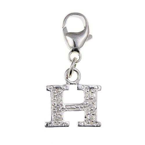 Alfabeto dalla A alla Z, Lettera iniziale in argento sterling, ciondolo con pietre scintillanti CZ, compatibile con gioielli Thomas Sabo, Argento, colore: H, cod. BU0400H-MM-ID-CHRM