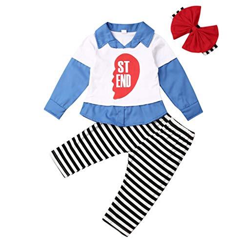 JXQ-N Toddler Bébé Filles Patchwork Lettre Best Friend Hauts T-Shirt Pantalon Rayé Soeur
