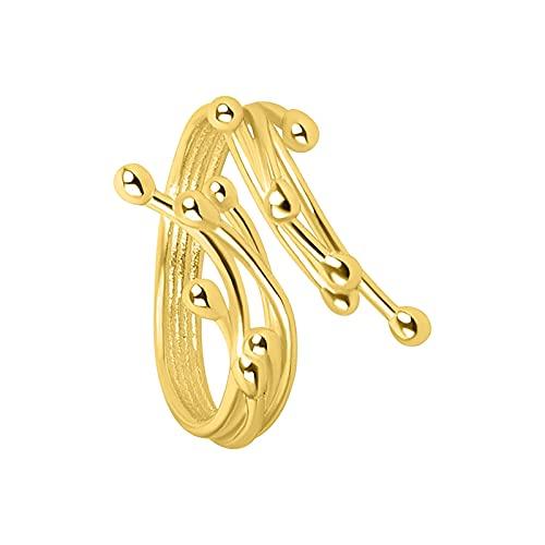 minjiSF Anillo de textura abierta para mujeres y hombres, irregular y creativo, joyería de moda, anillo de compromiso, simple, anillo de oro frío, anillo de Minoridad