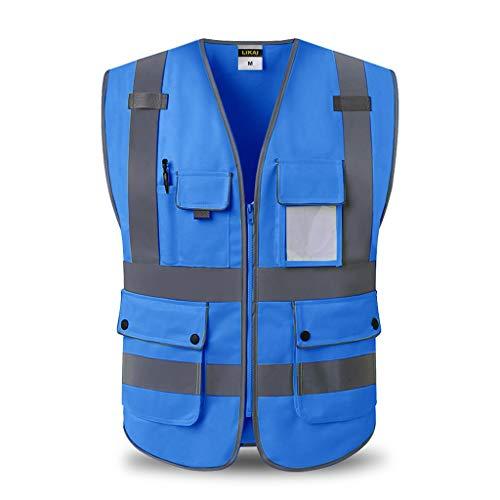 LQ Chaleco reflectante de seguridad Ropa de trabajo multibolsillo Alta visibilidad Chaleco Viajar por la noche Seguridad chalecos de seguridad (Color : Blue, Size : L)