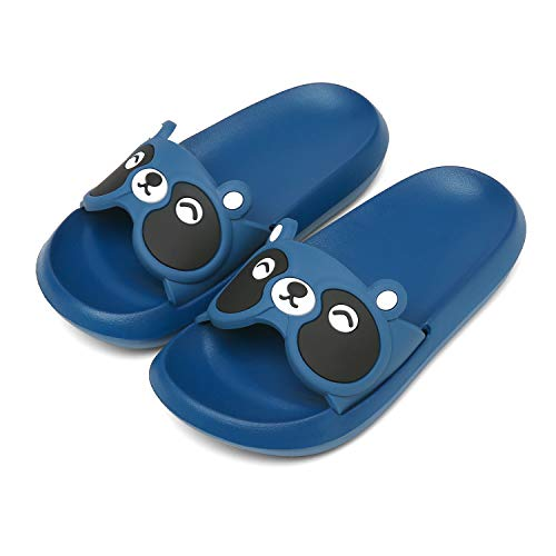 ChayChax Boys Girls Cute Slide Sandals Lightweight Kids Summer Beach Pool Bath Shower Slippers Non-Slip(Blue,1-2 Big Kid)