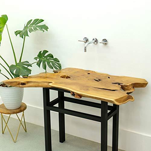 wohnfreuden Teak Holz Waschtischplatte Natur braun ✓ 90x50x5 cm ausgetrocknet und geschliffen ✓ Holz-Platte für für Waschbecken
