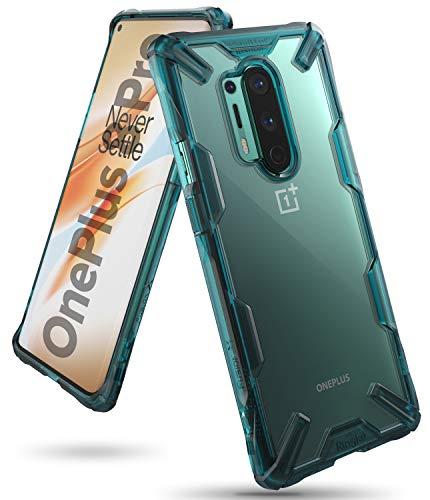 Ringke Fusion-X Kompatibel mit OnePlus 8 Pro Hülle Handyhülle Durchsichtig Rückseite mit Handyanhänger Loch im Rand - Turquoise Green