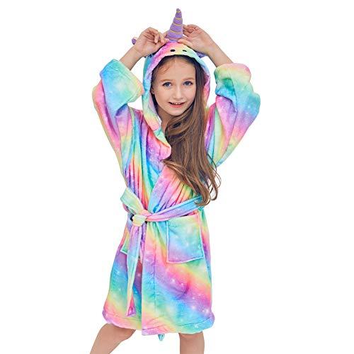 Basumee Mädchen Bademantel Einhorn Fleecebadementel mit Kapuze für Kinder 6-7 Jahre