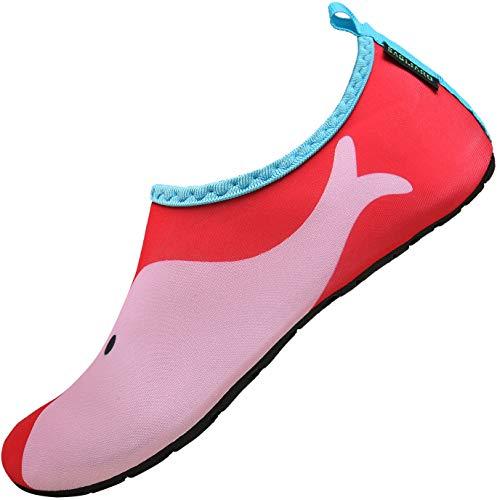 SAGUARO Sommer Kinder Badeschuhe Aquaschuhe Slip on Schwimmschuhe Leicht Wasserschuhe rutschfeste Strandschuhe für Jungen Mädchen, Rot, 34/35 EU